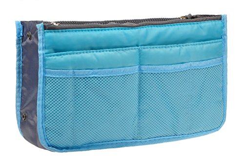 Vercord Purse Organizer Insert for Handbags Bag Organizers Inside Tote Pocketbook Women Nurse Nylon 13 Pockets Blue Medium