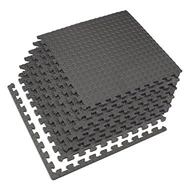 Velotas Charcoal Gray, 200 sq' (50 Tiles) Charcoal Gray 1/2  Thick Interlocking Foam Fitness Mat