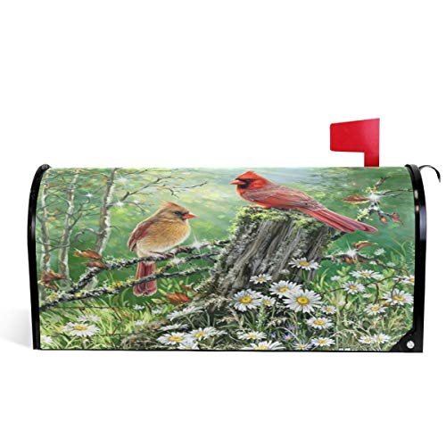 Xhayo US Mailbox | Amerikanischer Briefkasten Spring Funny Cardinal Birds Mailbox Cover Magnetic Standard Size,Sunflowers Daisy Letter Post Box Cover Wrap Decoration 21