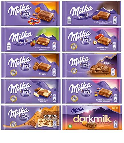 Milka Chocolate Assortment Variety Pack of 10 Full Size Bars  Randomly Selected