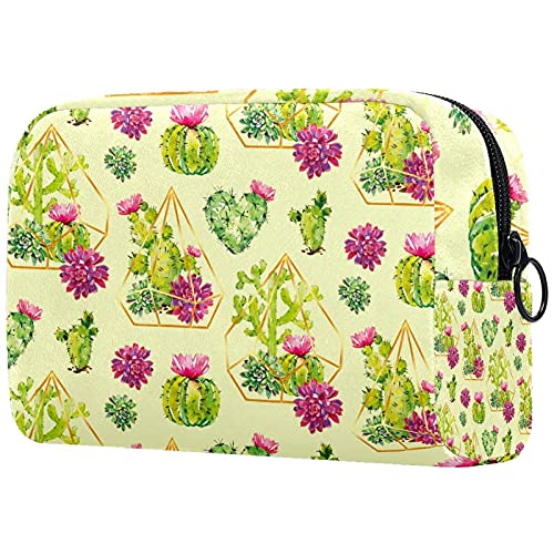 Toiletry Bag/Makeup Organizer/Cosmetic Bag/Portable Travel Kit Organizer/Household Storage Pack/Bathroom Storage Green Cactus with Floral Geometric Diamond