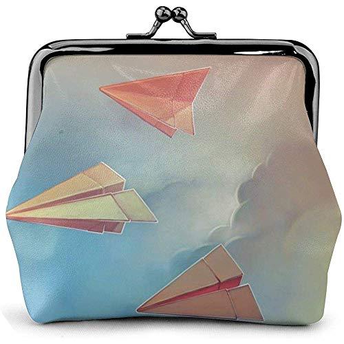 Cartera de papel con hebilla, diseño de aviones de origami
