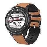 N\A RGYZD Inteligente Reloj Redondo táctil Completa Hombres Mujeres Deportes Reloj Monitor de Ritmo cardíaco for iOS teléfono Android (Color : Brown Leather)