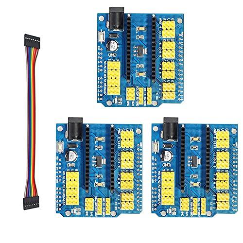 3Stk Nano Terminal Adapter I/O Extension Shield Erweiterungskarte, mit 10stk Jumper Kabel Female-Female, 5V 16A Erweiterungsboard für Arduino Nano V3.0 Modul Board