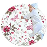 Plokij Baby-Spielteppich mit Rosenmuster, Baumwolle, ungiftig, rutschfest, wendbar, waschbar, 70 x 70 cm, Mehrfarbig01, 70x70cm/27.6x27.6IN