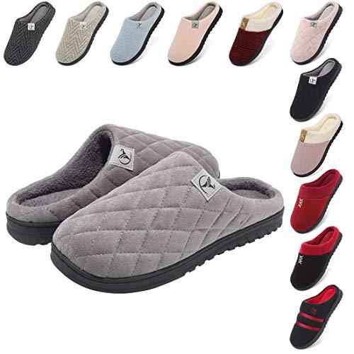 incarpo Zapatillas Casa Mujer Lana de Coral Zapatillas de Estar por Casa Antideslizante Pantuflas de Interior y Exterior Cálido y Confortable Zapatillas-Gris-40/41 EU