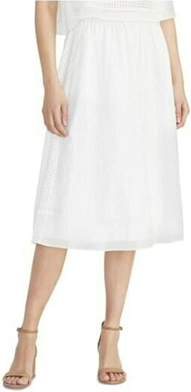 Rachel Roy Womens White Midi Pleated Skirt Size L