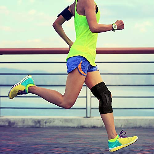 Thx4COPPER Hinged Knee Brace-Adjustable Open Patella with Parallel Straps & Dual Side Stabilizers-Compression Support for Knee Pain Relief&Recovery-MCL, ACL, LCL,Tendonitis, Ligament for Men & Women