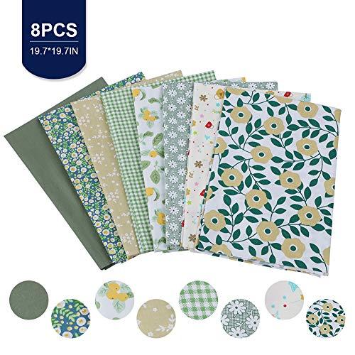 8 paquetes de 50 x 50 cm cuadrados de tela, tejido de algodón para manualidades, tela de patchwork, cuadrada, paquetes de tela de 50 cm, cuadrados, acolchados, costura