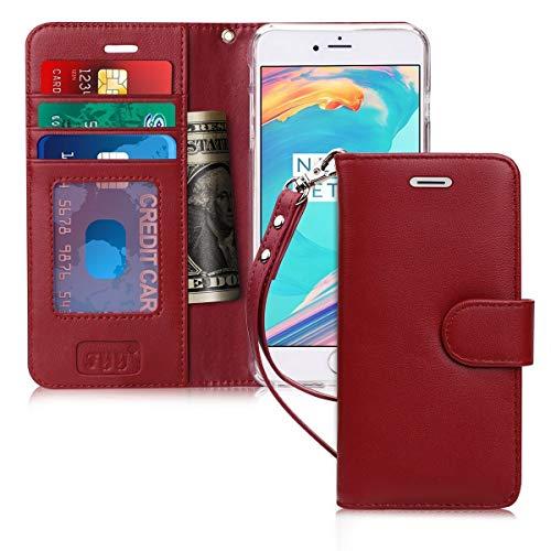 FYY Cover iPhone 6 Plus, Cover iPhone 6S Plus, Flip Custodia Portafoglio Libro Vera Pelle con Porta Carte e Chiusura Magnetica per iPhone 6/6S Plus-Borgogna