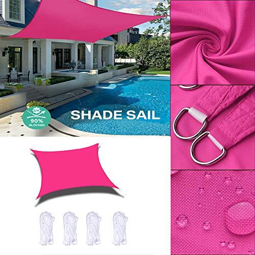 Velas de Sombra Rectángulo Toldo Resistente al Agua Dosel 90% Bloque UV para Intemperie Jardín Terraza Proteccion Solar Cubrir, Rosa Roja, Personalizar-5x6m