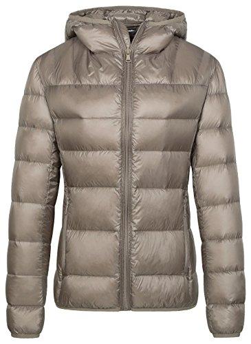 Wantdo Damen Outdoor Daunenjacke Warm Winddicht Winterjacke Packable Leichte Jacken Isoliert Gesteppt Übergangsjacke Slim Fit Kurz Mäntel Kahki XL