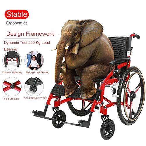 WHYTT Rollstuhl Faltbar Leichter Rollstuhl mit Steckachsen Trommelbremse, Medical Transportrollstuhl Produktgröße: 106CM * 67CM * 9CM Produkt Nettogewicht: 15kg