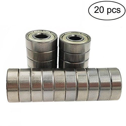 Sackorange 608 ZZ Skateboard Bearings, Double Shielded,8x22x7 Miniature Ball Bearings(Pack of 20)