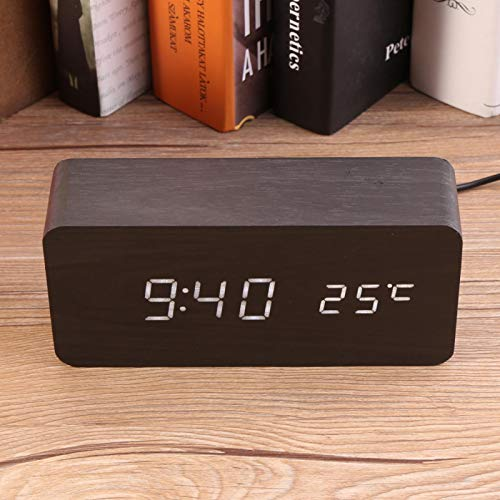 Germerse Despertador, Reloj Digital, Mini Oficina de inducción activada por Voz para Dormitorio de(Black Wood + White Light)