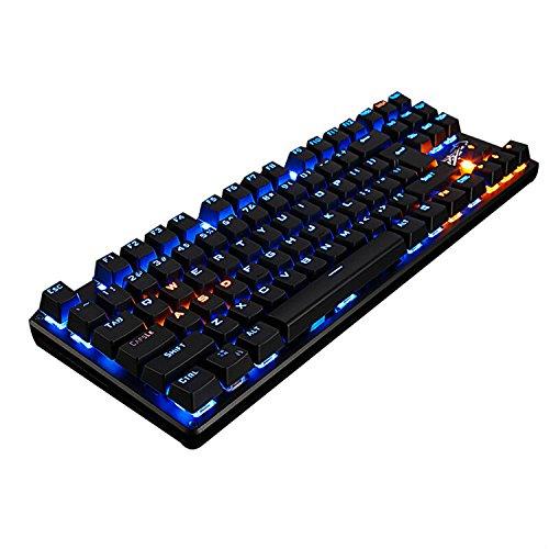 LingBao JIGUANSHI Mechanische Gaming Tastatur 87-Tasten Mechanical Gaming Keyboard mit USB-Kabel Blaues Licht, schwarze L¨¹nette, schwarze Kappe, blaue Schalter