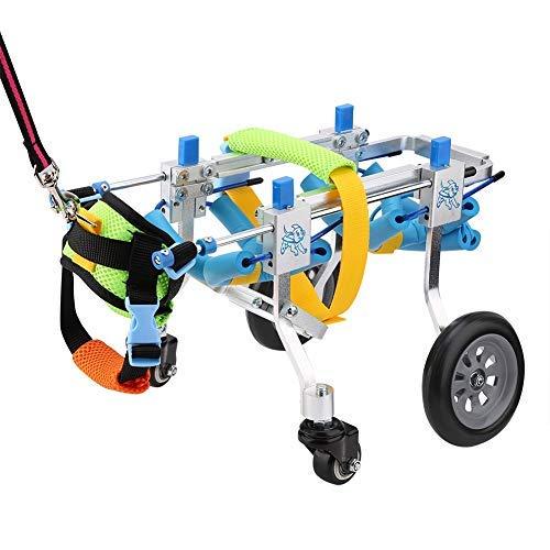 Silla de ruedas para perros, silla de ruedas ajustable para cuatro ruedas para mascotas, carrito de rehabilitación de la parte delantera de la pierna Asistente para caminar de mascotas paralizado para