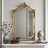 LIGUOYI Espejo De Pared Dorado, Espejo Decorativo Vintage, Espejo De Maquillaje De Madera Rectangular, Moda De Lujo, Espejo Decorativo Barroco, para Dormitorio, Salón, Decoración
