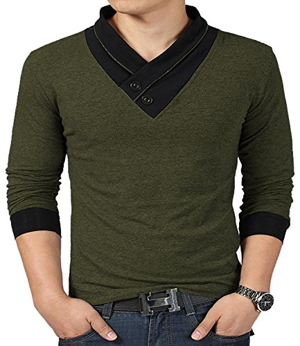 YTD 100% Cotton Mens Casual V-Neck Button Slim Muscle Tops Tee Long Sleeve T-Shirts (US Large, Long Sleeve Army Green)