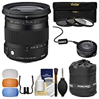 シグマ17–70mm f / 2.8–4コンテンポラリーDCマクロOS HSMズームレンズFor Canon EOSカメラ) with USB Dock + 3UV/CPL / nd8フィルタ+ポーチ+吹き出し口+キット