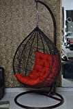 CITE Single Seater Swing Chair Hanging Swing Chair with Stand Single Seater | Weatherproof UV Resistant | Indoor Outdoor Swing Patio Chair [Round Cushion Cover with Swing Chair]