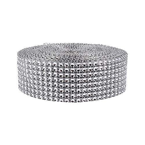 Starbun Diamante Mesh - 10 Yard Diamante Mesh Ribbon Wedding Cakes Candele Ordito Strass Crystal Golden (Colore : Argento)