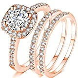 Jude Jewelers Silver Rose Gold Three-in-One Wedding Engagement Bridal Halo Ring Set (Rose ...