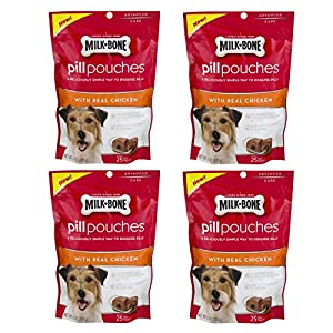Milk-Bone Pill Pouches With Real Chicken Dog Treats- 6-Ounce – 4 Pack