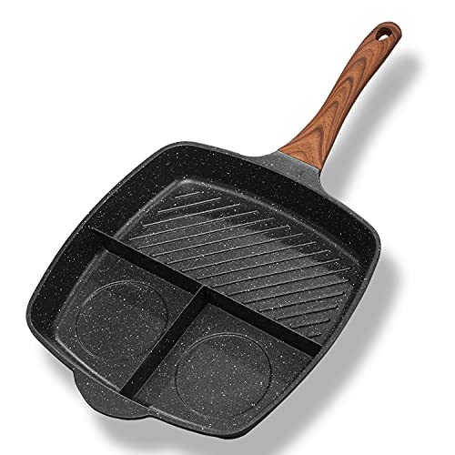 Frying Grill Pan, Nonstick 3-In-1 Grill Pans for Stove Tops with Granite Coating & Solid Heat Resistant Handle, Induction Compitable, 11 Inch