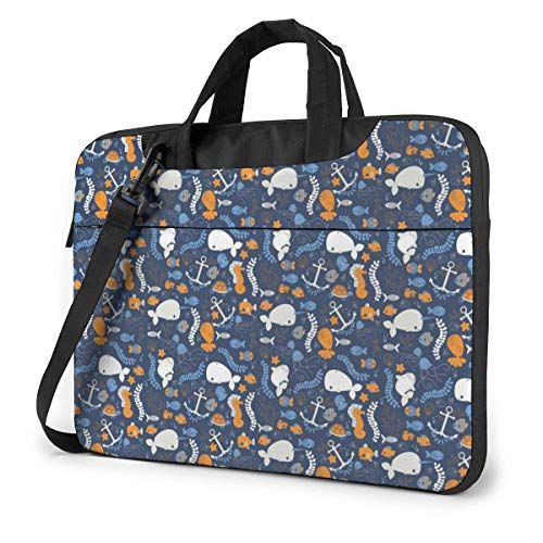Lawenp Laptop Case Computer Bag Sleeve Cover Whale Sea Waterproof Shoulder Briefcase 13 14 15.6 Inch