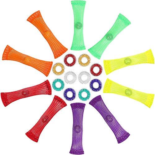 20 Pieces Spiky Sensory Finger Rings, Silent Fidget Toys Set Acupressure Ring, Spiky Finger Ring...