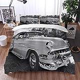 Bedding Juego de Funda de Edredón -Vintage 50s 60s Retro Clásico Pin up Style Cars en Hollywood Pelí...