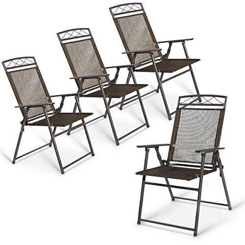 4 Pcs Patio Folding Steel Sling Chairs Textilene Camping Deck Outdoor Picnic