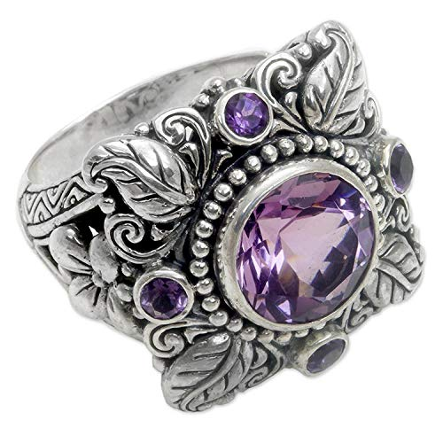 KKP Luxury Amethyst Ring European and American Antique Thai Silver Flower Ring Jewelry