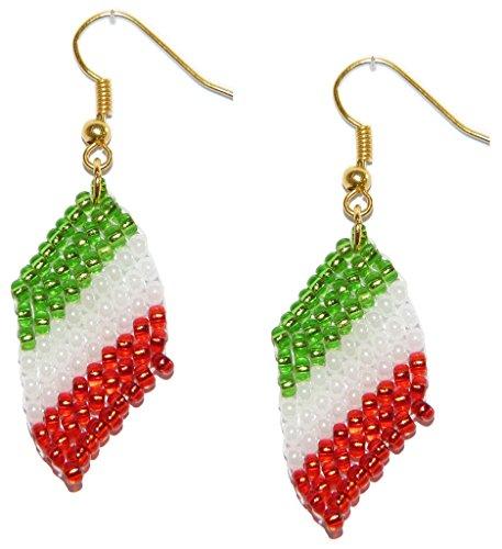 Glasperlenohrringe im Design der Italien, Italia Flagge – Handgefertigter Perlenarbeiten