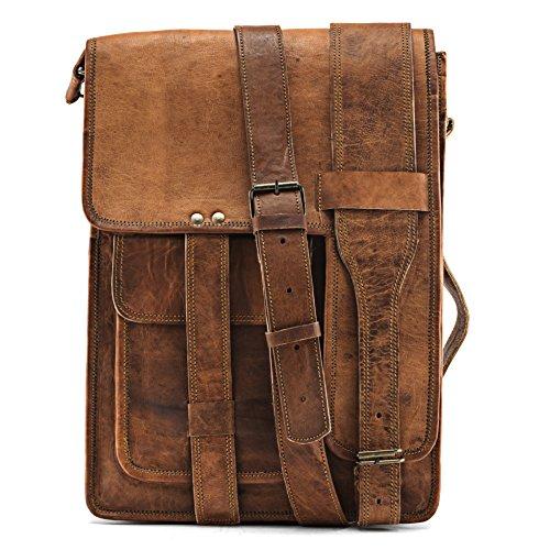 Exklusive Echt-Leder Herrentasche by A.P Donovan | Aktentasche Messenger Bag Umhängetasche Unitasche Lehrertasche Bürotasche Kuriertasche Arbeitstasche Schultertasche Ledertasche Laptop Tasche 15 Zoll