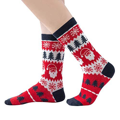 Syliababy Conjunto de calcetines navideños familiares para padre, madre, bebé, 3 pares de calcetines + estampado de alces navideños Calcetines cálidos de invierno casuales