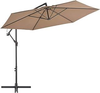 Tidyard Cantilever Umbrella with Aluminium Pole and Crank Mechanism Hanging Market Patio Umbrella 300 cm Taupe