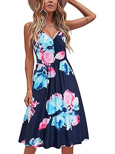 Eghunooze Vestido floral para mujer, de verano, casual, sin mangas, con correa sin espalda, vestido largo, sexy, con cuello en V, para fiestas y clubes, azul, L