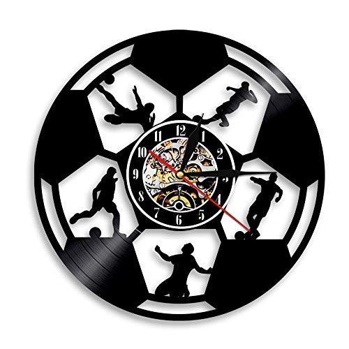 Enofvd Play Group Disco de Vinilo Reloj de Pared diseño Competencia Equipo decoración del hogar Amantes Regalo 12 Pulgadas