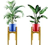 2 Pack Plant Stands for Indoor Plants with Tray   Mid Century Plant Stand Indoor & Outdoor to Create Your Botanical Wonderland   Modern & Sturdy Design Bamboo Stand - Adjustable Fit Pots Up to 12'