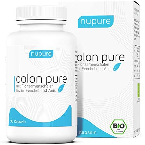 Nupure Colon Pure, BIO Darmprodukt mit Flohsamenschalen Pulver, Inulin, Fenchel und Anis - 90 Kapseln