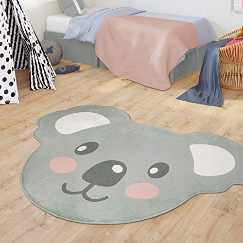 TT Home Alfombra Infantil Bebé Niños Niñas Forma Oso Koala Moderna, Color:Gris, Tamaño:90x120he cm