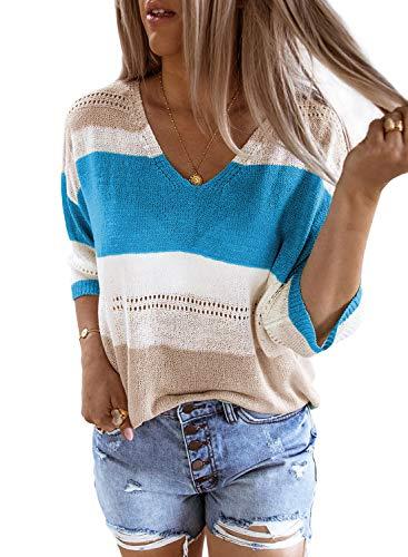 FIYOTE Damen Pullover Warm Strickpullover Rollkragen Streifenpullover Farbblock Sweatshirt Pullover Strick,9-blau,XL