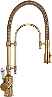 Kunmai High Arc Swirling Dual-Mode Pull-Down Kitchen Faucet with Porcelain Handle (Gold)