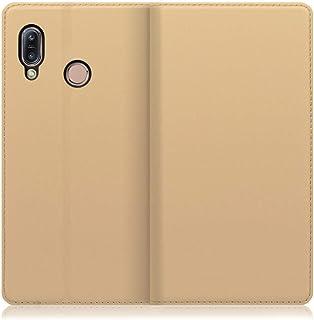 LOOF SKIN Slim ZenFone Max (M1) / ZB555KL ケース 手帳型 カバー 極薄 ベルト無し カード収納 カードポケット 薄い 軽い スタンド機能 手帳型ケース スマホケース シンプル 手帳型カバー (ゴールド)