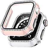 Charlam Bling Case Compatible with Apple Watch Cover 40mm SE iWatch Series 6 5 4 with Tempered Glass Screen Protector for Women Girls (White/Pink 40mm)