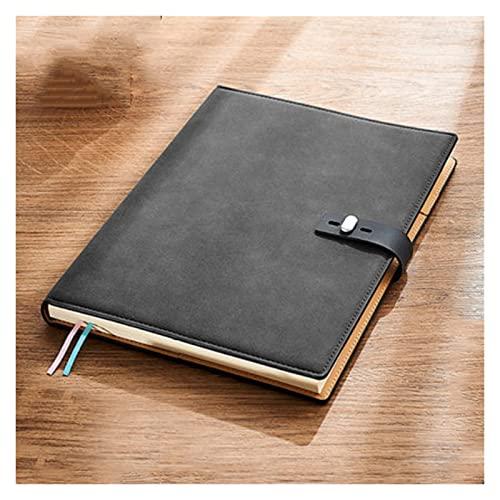 WPBOY Cuaderno grande de cuero para negocios, oficina, trabajo diario, estudiante, cuaderno de papel engrosado, bloc de notas (B5) (color negro)