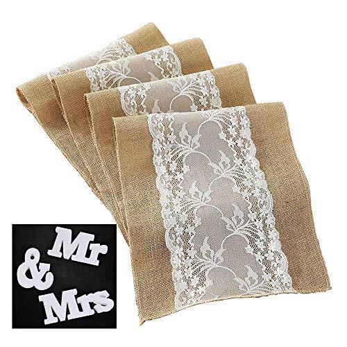Adkwse jute tafelloper in vintage look, 30 x 275 cm, rustiek, slingers, voor bruiloft, feest, party met Mr & Mrs, houten letters huwelijksgeschenk