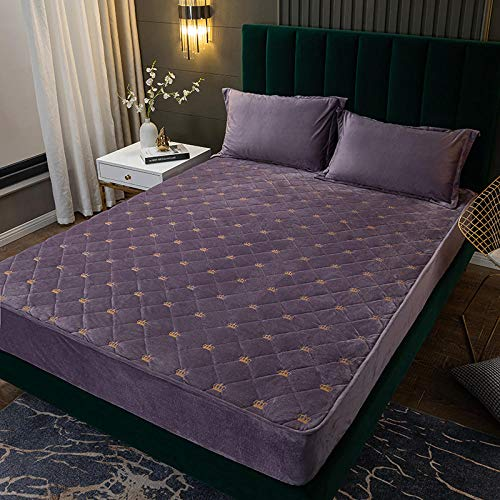 YFGY Extra Deep Pocket Sheets king,Warm Crystal Velvet Embroidery Fitted Bed Sheet, Winter Non-Slip Mattress Protector Bedroom Hotel Purple 1 180cmx200cm
